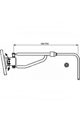 Specchio retrovisore dx-sx asta telescopica lunghezza 443/709MM, Ø braccio 20MM, coppa 230X180mm