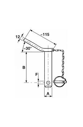 lotto da 4 pezzi Perno con maniglia, spina e catena